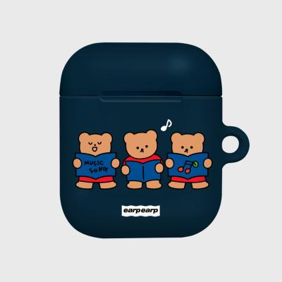 Music song bear-navy(Hard air pods)