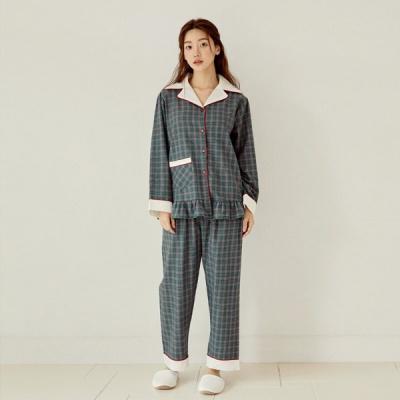 [쿠비카]카라배색 체크 면 투피스 여성잠옷 W814