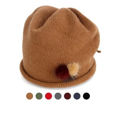 [디꾸보]털방울 패치 리본 스트링 비니 모자 AC671