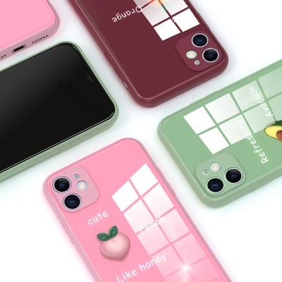 아이폰11 PRO MAX XR XS 과일 레터링 강화유리 케이스