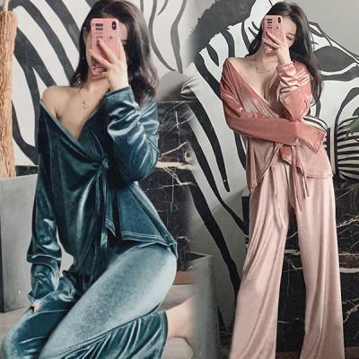 스카잉 여성 겨울 벨벳 잠옷세트 파자마세트