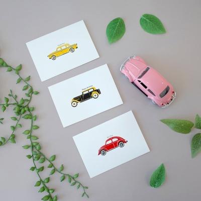 감성 일러스트 자동차카드 3종( 생일 너를위해 감사 )