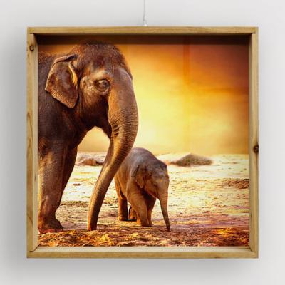 ig549-우드프레임액자_복을부르는코끼리두마리