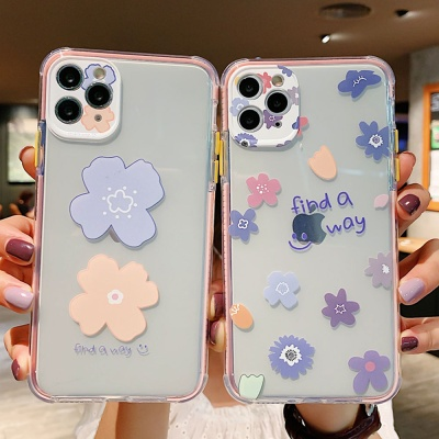 아이폰11 PRO X SE2 7 플라워패턴 투명 슬림 케이스