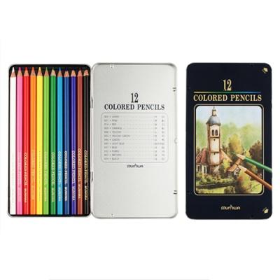 문화 12색 고급 색연필(틴)