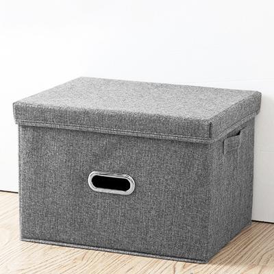 린넨폴리패브릭 덮개형 옷 수납 박스 정리함 (특대형)
