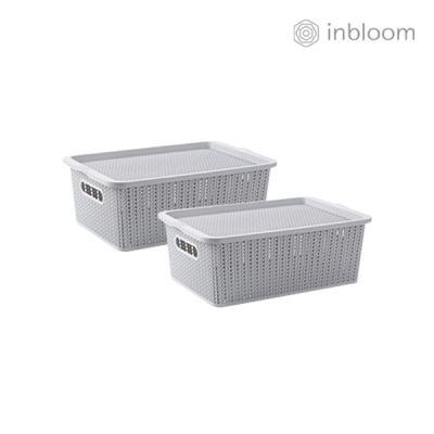 인블룸 1+1세트 커버 라탄 리빙박스 중형 그레이