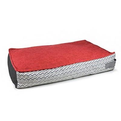 미끄럼 방지 론피 사각 쿠션 강아지 침대 레드
