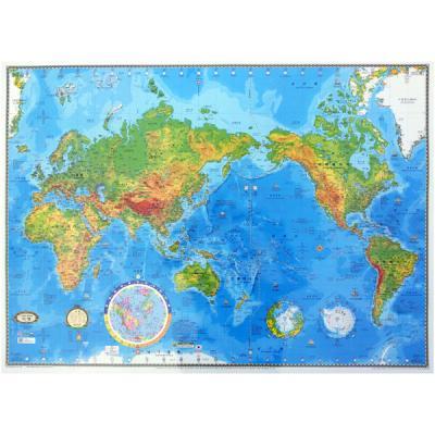 [무료배송][뉴월드]양면코팅형 중형 세계지도-지형