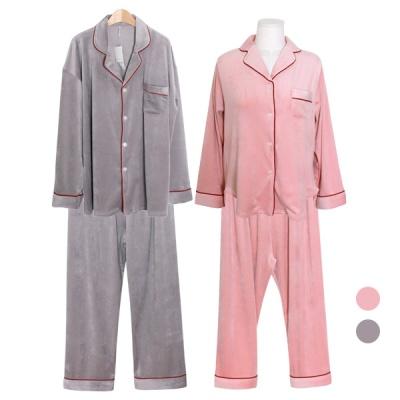 [쿠비카]보온 극세사 레드라인 투피스 커플잠옷 WM297
