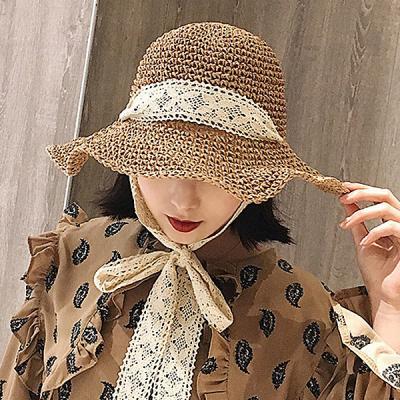 제아 리본 포인트 와이어햇 여성 밀짚모자 여름모자