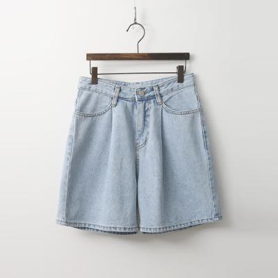 Pintuck Denim Shorts