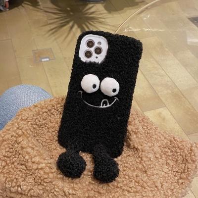 아이폰11 PRO SE2 XS 8 블랙 인형 털 뽀글이 폰케이스