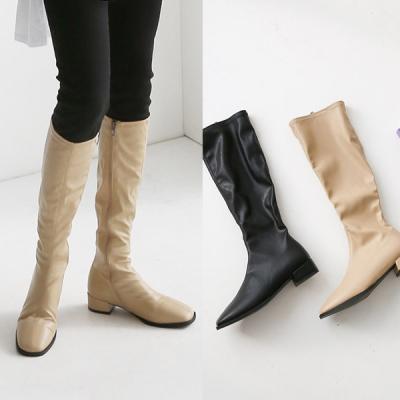 [애슬릿]지퍼 발 편한 스퀘어 여성 롱 부츠 3cm
