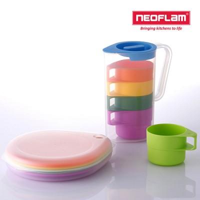 네오플램 드롭렛 피크닉 물컵세트 + 접시세트 (물병1+컵5+접시5+보관케이스)