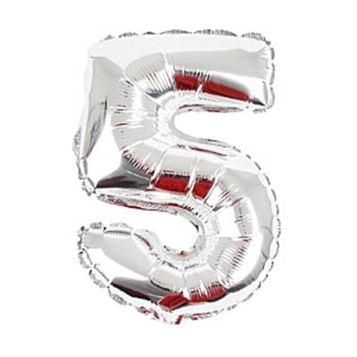 알파벳 숫자 은박풍선 (소) 실버 5