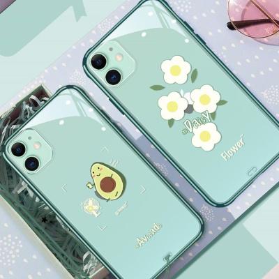 아이폰XR XS MAX 7 8+  아보카도 꽃 투명 하드 케이스