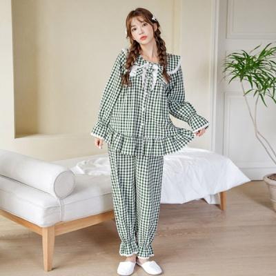 [쿠비카]그린체크 오픈형 긴팔 투피스 여성잠옷 W651