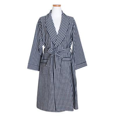 [쿠비카]워싱 체크 순면 여성가운 잠옷 W416