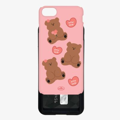pink spring slow bear pattern 카드슬라이드 케이스