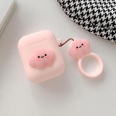 에어팟 1 2 귀여운 실리콘 케이스 키링_핑크구름 432