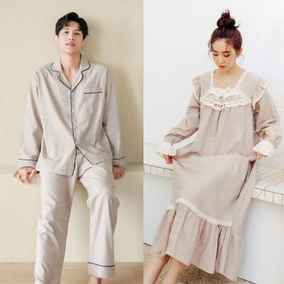 [쿠비카]네츄럴 깔끔 파이핑 원피스 커플잠옷 WM276