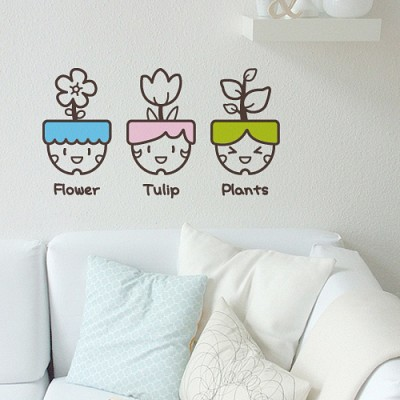 빠띠라인 디자인 스티커 b072_귀여운 곱슬머리 화분들