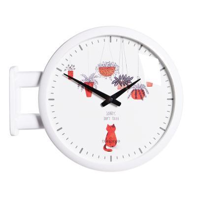 (ktk139)심플 화이트양면시계 (레드캣)