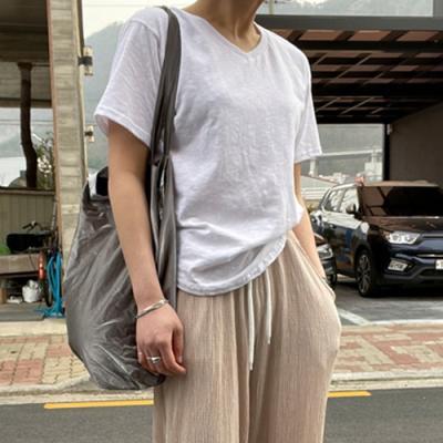 [애슬릿]국내 생산 면 브이넥 여성 기본 반팔 티 셔츠