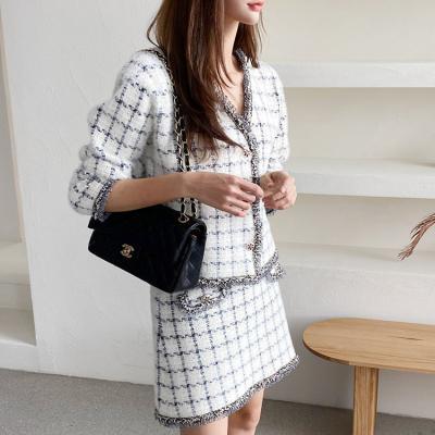 [Set] Warm Tweed Knit Jacket + Mini Skirt