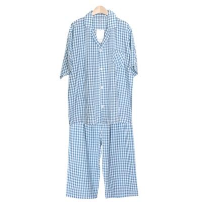 [쿠비카]블루 컬러 체크 레이온 카라넥 남성잠옷 M220