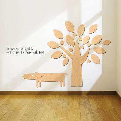 우드스티커- 강아지와나무 (반제품) 캐릭터 W503 입체