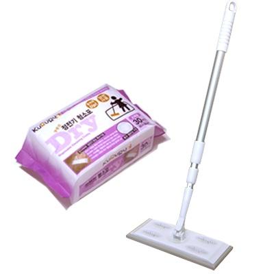 쿠루르 부직포 청소기+청소용 부직포(정전기 청소포)120매