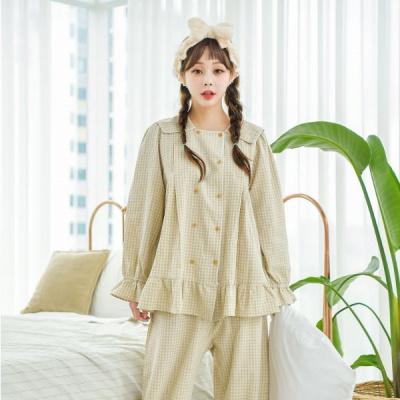 [쿠비카]체크 워싱 투피스 소매훌 여성잠옷 W499