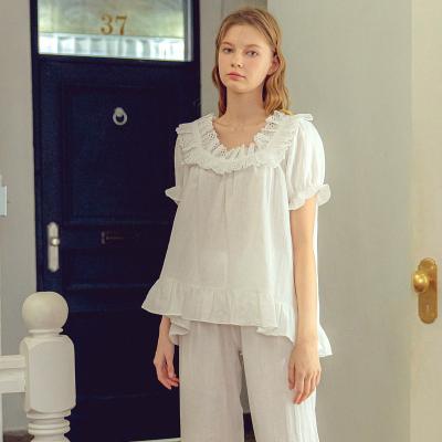 Angel 반팔 프릴 레이스 면잠옷 투피스잠옷