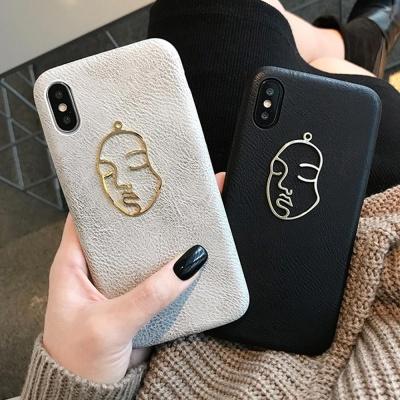 아이폰11 프로 맥스 XR XS 8 7 GOLD FACE 가죽 케이스