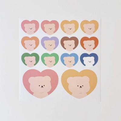 [밤토리상점]곰 하트 리무버블 스티커