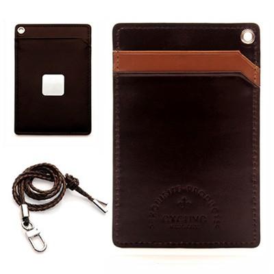 [excuve]MTX1-023dark brown SKIN 카드홀더 카드목걸이 카드지갑 소가죽 이니셜옵션