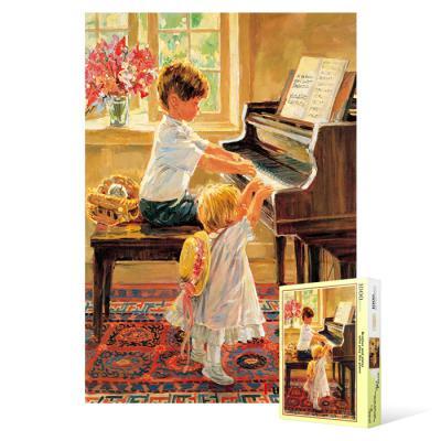 1000피스 직소퍼즐 - 피아노 치는 남매