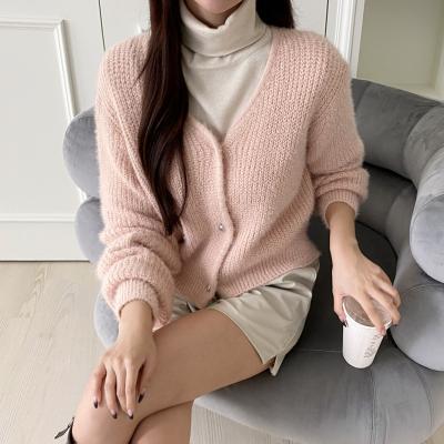 Wool Pearl Crop Cardigan