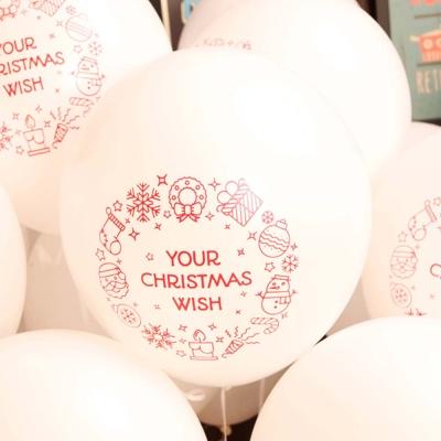 크리스마스풍선30cm - 리스(화이트)