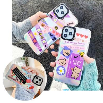 아이폰11 pro max 곰돌이 스티커 홀로그램 젤리케이스