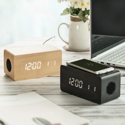 우드 3in1 무선충전 블루투스 스피커 LED 탁상시계