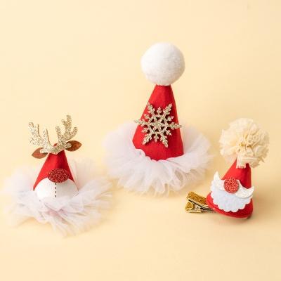 크리스마스 산타모자 머리핀 3종