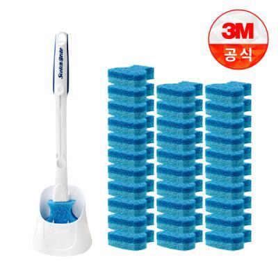 [3M]크린스틱 더블액션 변기청소 핸들+캐디+리필 32입