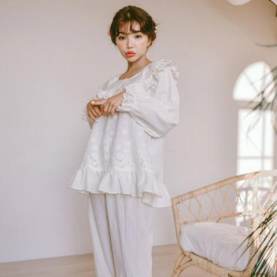 [쿠비카]넥프릴 플라워 자수 올오버 투피스 잠옷 W289
