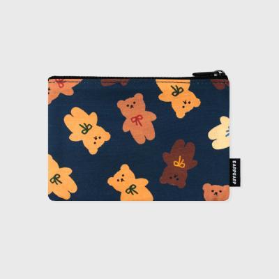 Dot ribbon bear-navy(파우치)(S)