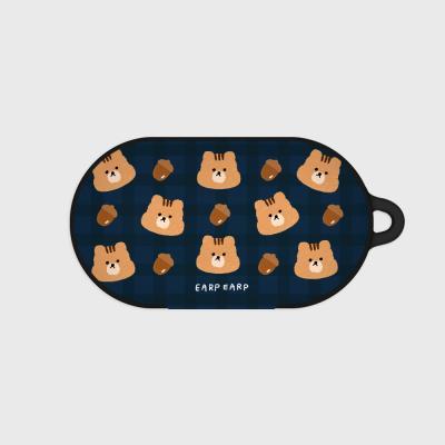 Check squirrel acorns-navy(Buds hard case)