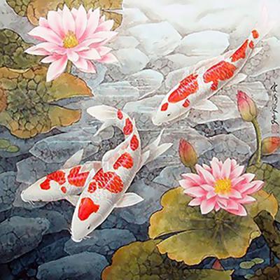 연꽃잉어 (패브릭) 5D 보석십자수 45x45
