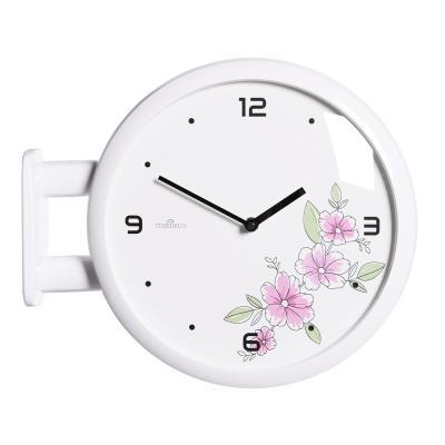 (ktk138)심플 화이트양면시계 (핑크꽃)